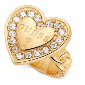GUESS Gold-Tone Crystal Heart with Logo Ring SZ 7